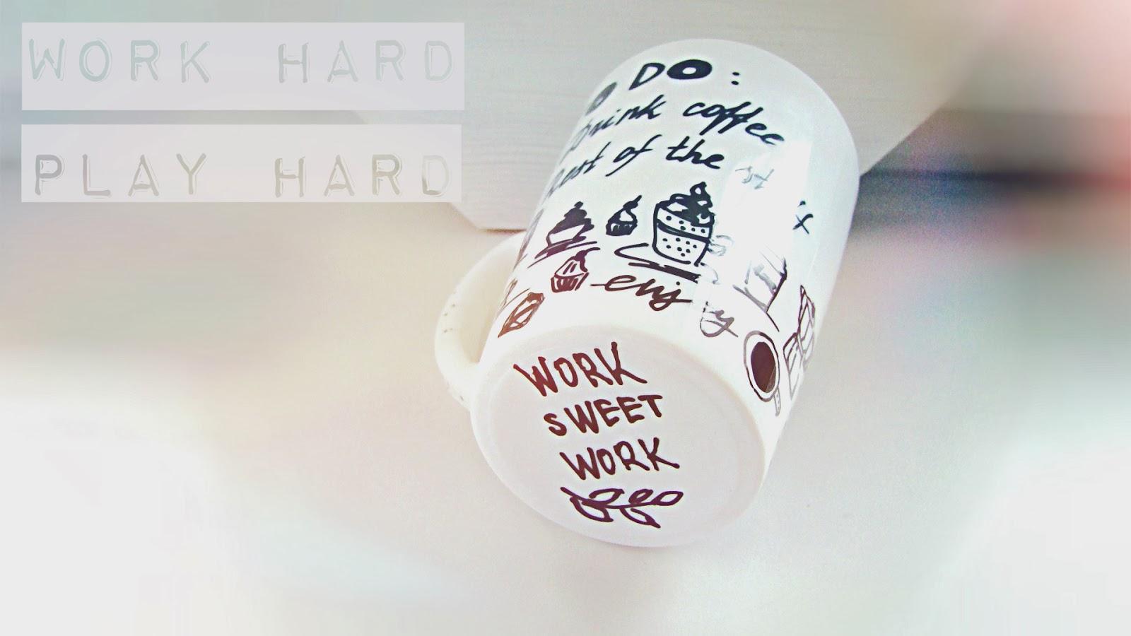 dekoruotas puodelis darbui