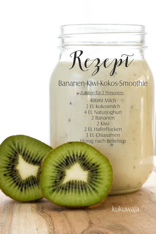 kukuwaja bananen kiwi kokos smoothie rezept dailysmoothie. Black Bedroom Furniture Sets. Home Design Ideas