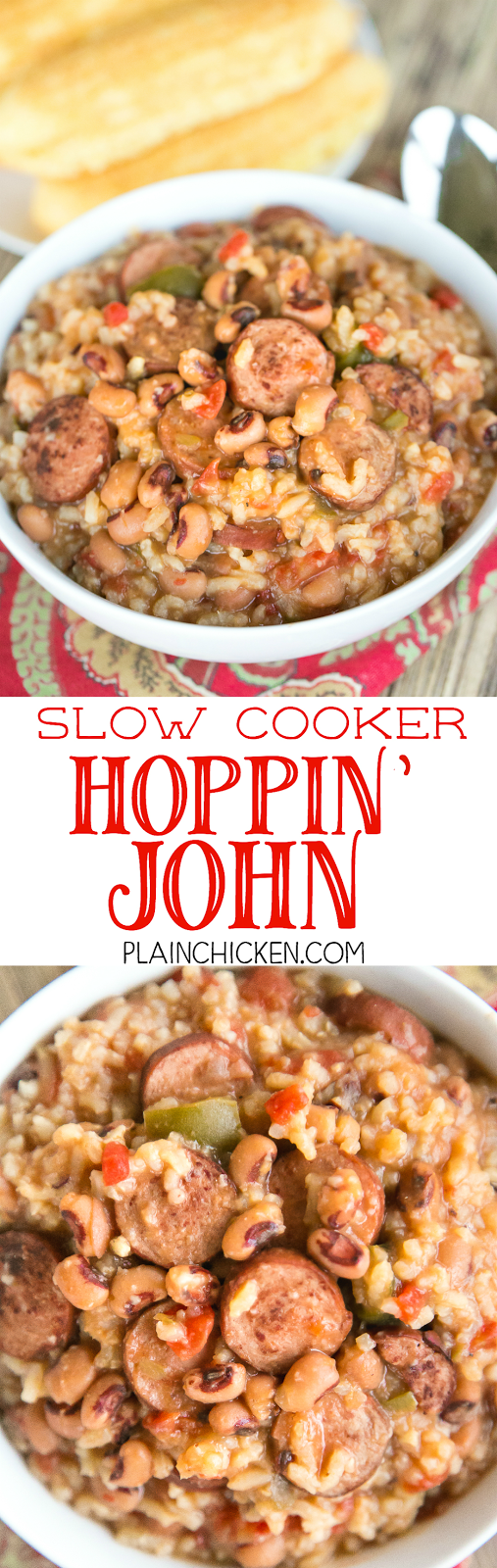 Slow Cooker Hoppin' John - perfect for ringing in the New Year! Black Eyed Peas, diced tomatoes and green chiles, smoked sausage, beef broth, onion, bell pepper, cajun seasoning and rice. Comfort food at its best! All you need is some cornbread and you are ready to eat!
