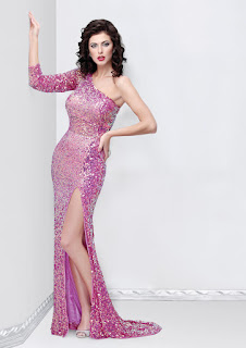 Purple sequins prom dress