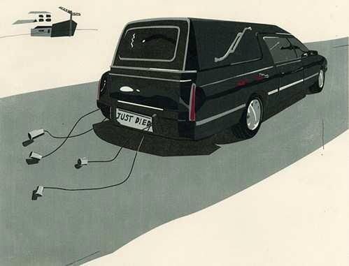 just died funeral hearse cartoon picture