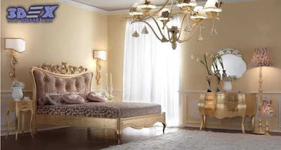 art deco style, art deco interior design, art deco home bedroom with gold furniture