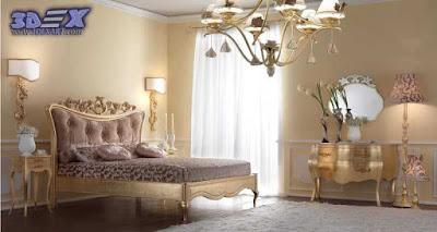 art deco style, art deco interior design, art deco home bedroom with gold furniture