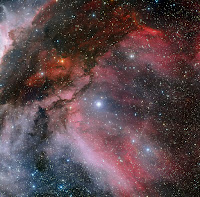 The Carina Nebula around the Wolf–Rayet star WR 22