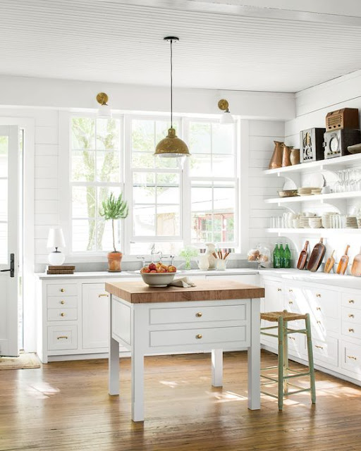 Modern farmhouse white kitchen with open shelving by Rachel Halvorson