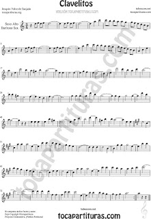 Saxofón Alto y Sax Barítono Partitura de Clavelitos Sheet Music for Alto and Baritone Saxophone Music Scores