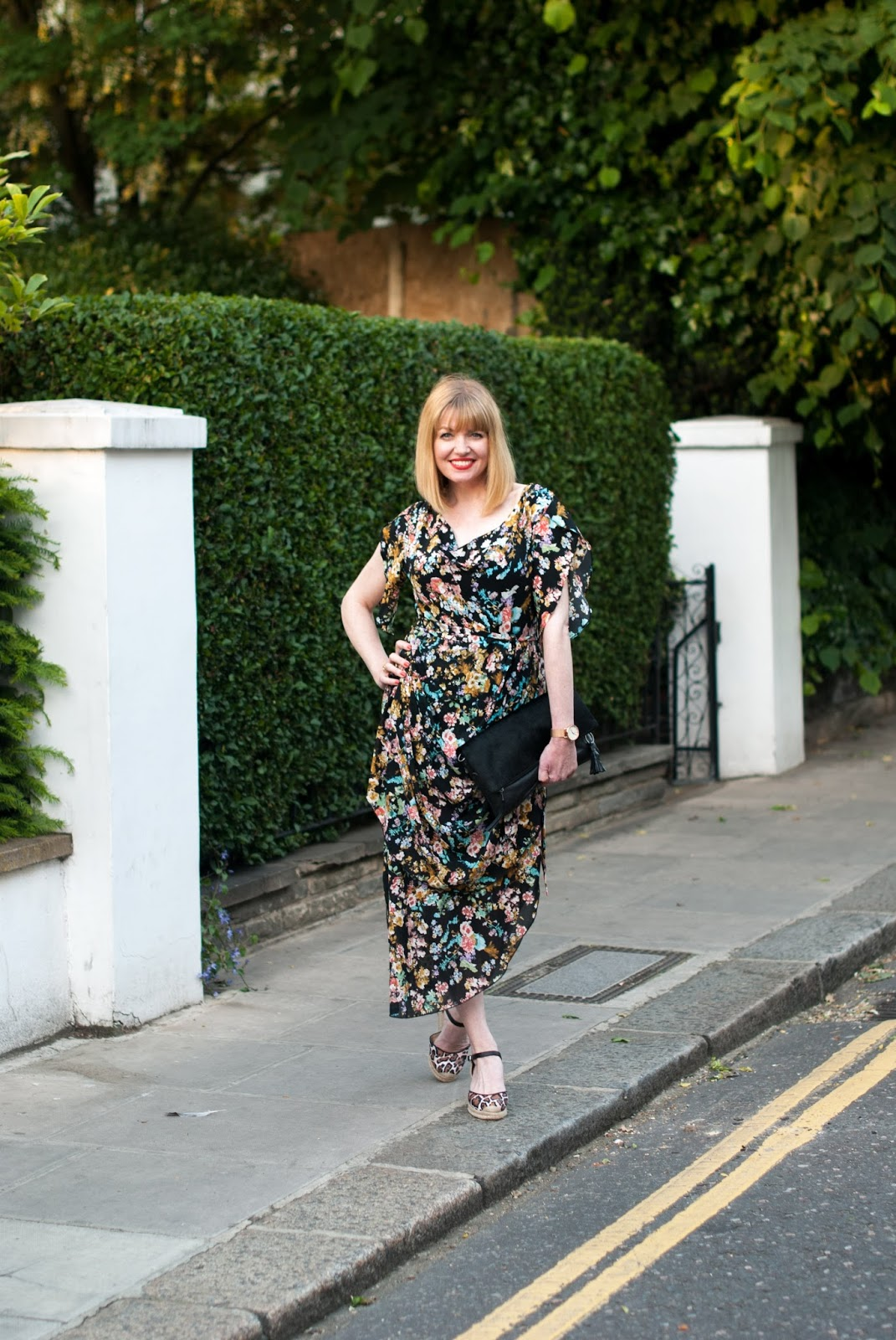 Floral draped vintage style dress with leopard print espadrilles, over 40 style