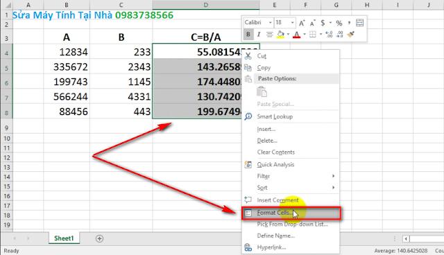 Làm tròn số thập phân trong Excel