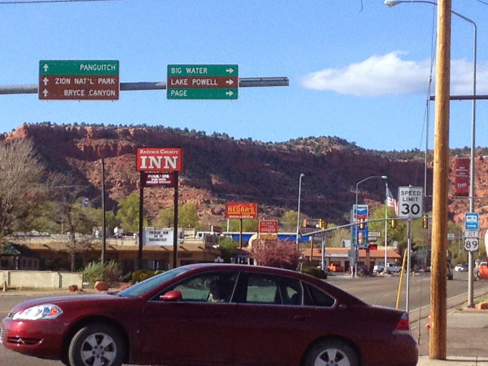 Road signs on US Route 89 in Kanab Arizona