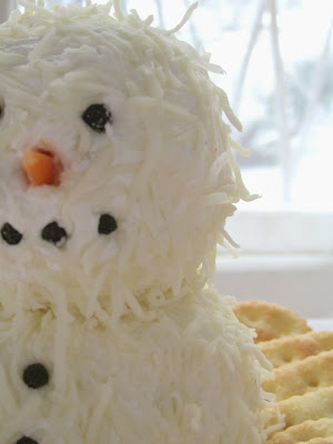 Cheese ball snowman