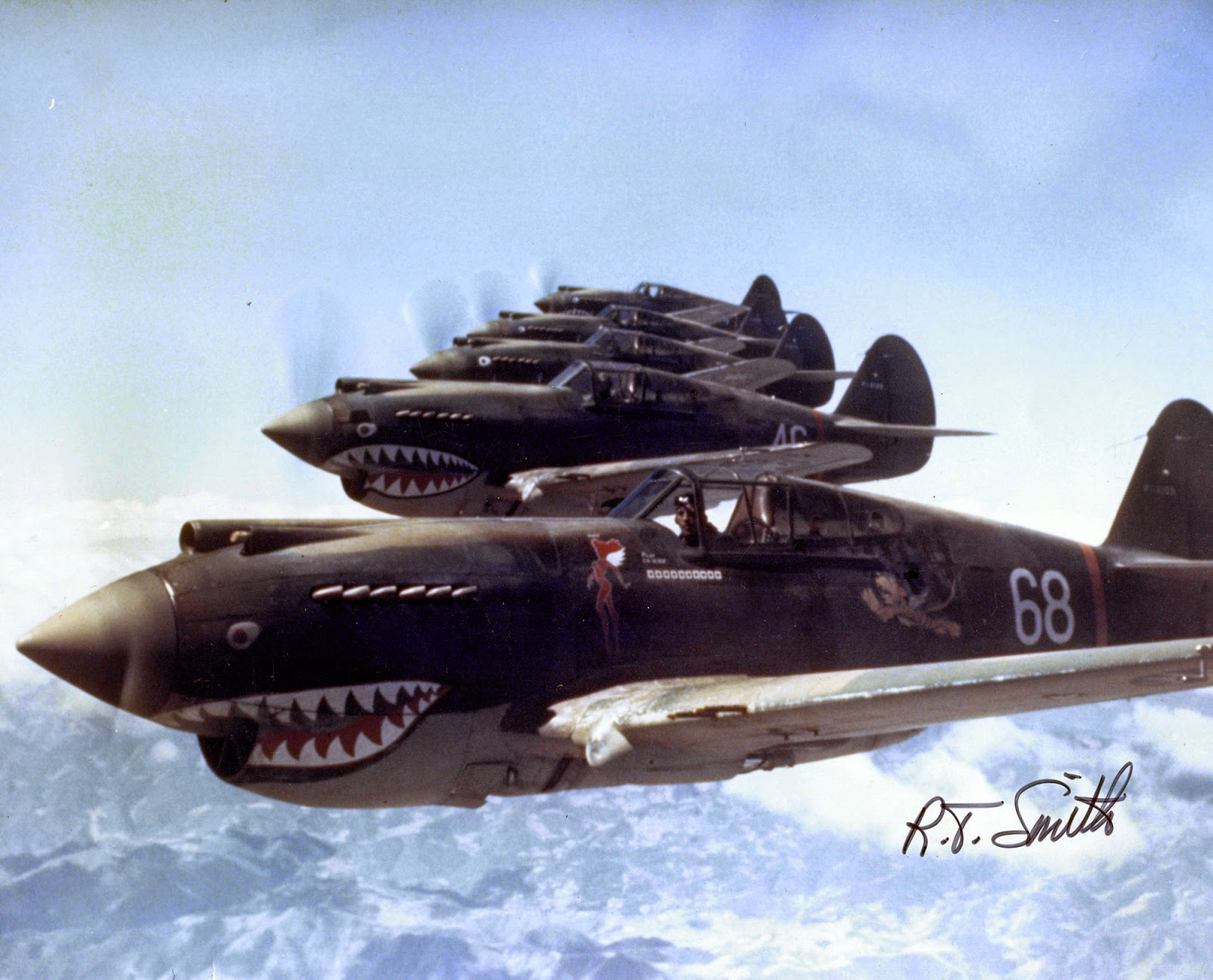 3rd Squadron Hell's Angels, Flying Tigers over China, photographed in 1942 by AVG pilot Robert T. Smith.