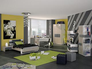 habitación gris y amarillo