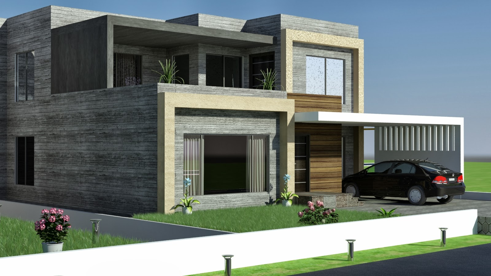 3-D Modern domestic front elevation - e2 Homes, Inc.- Award Winning Custom ....Com: house plans with the front porches House-Home ... Kkanal Old Design Convert to Modern ... - Front Elevation Modern House