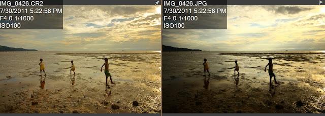 Hasil pengolahan foto  format RAW (kiri) dibandingkan foto dari hasil kamera langsung dengan format JPEG (kanan)