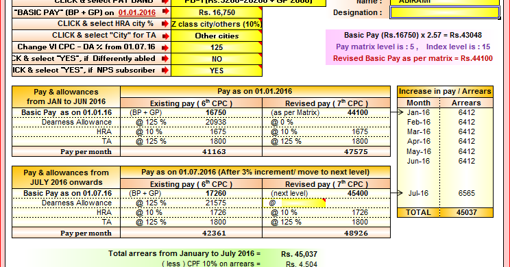 How To Calculate Salary Pension And Arrears In 7th Pay Commission