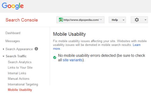 Gambar Laporan Kegunaan Seluler Di Google Search Console
