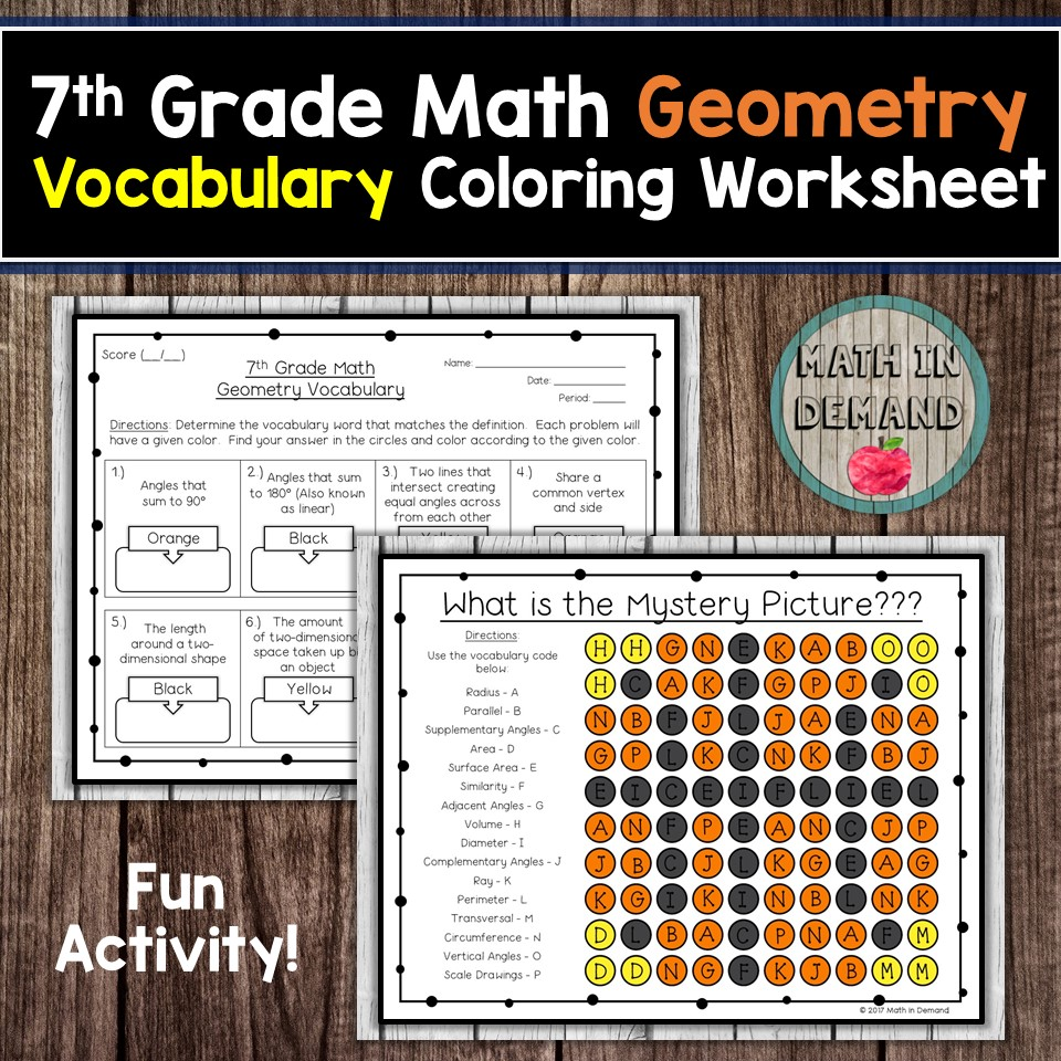 7th Grade Math Vocabulary Coloring Worksheets [ 960 x 960 Pixel ]