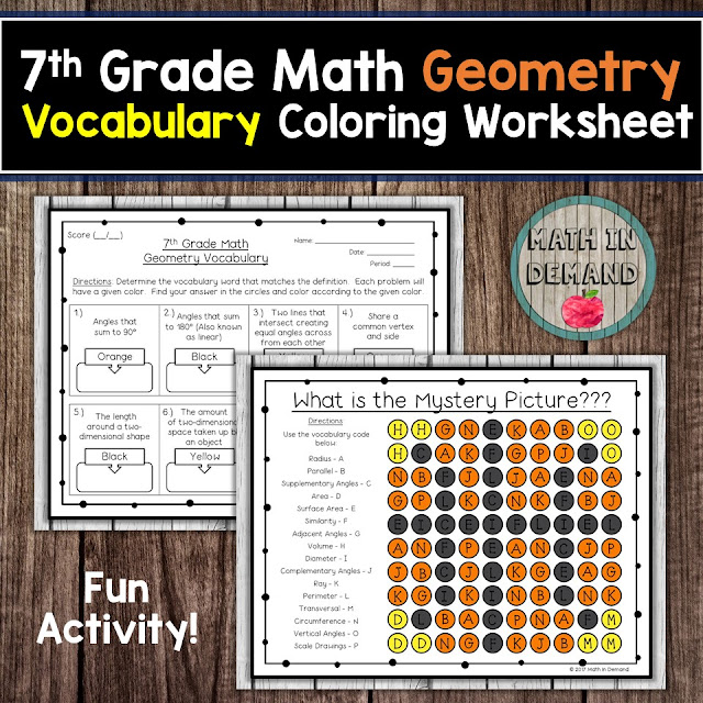 7th Grade Math Vocabulary Geometry