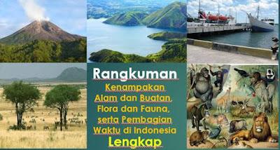 Rangkuman Kenampakan Alam dan Buatan, Flora dan Fauna, serta Pembagian Waktu di Indonesia Lengkap