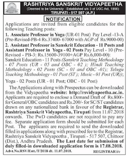 Rashtriya Sanskrit Vidyapeetha Assistant Professor Sanskrit, Hindi, Telugu Govt Jobs Recruitment Notification 2018-Application Form