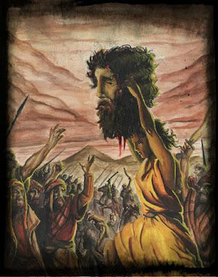 Davi levantando a cabeça decepada de Golias