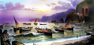 Paisajes Pescadores Cuadros al Oleo
