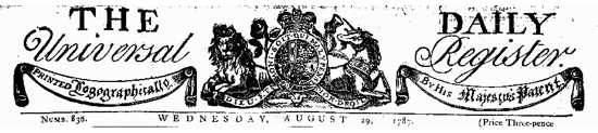 The Times, header in 1787