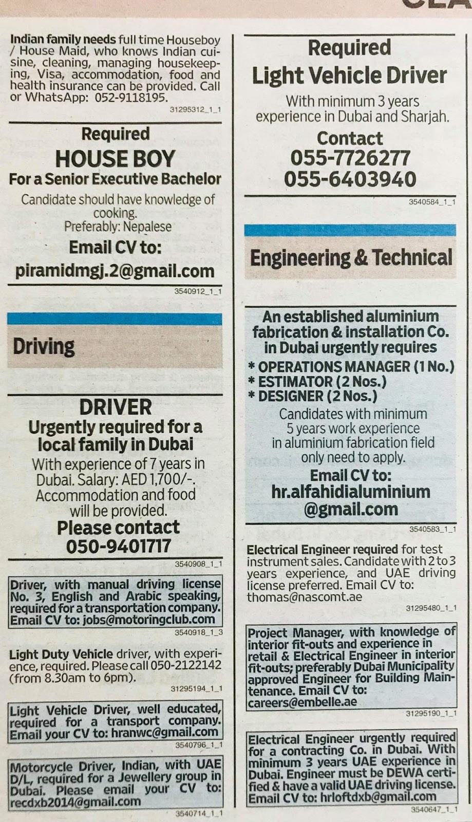 Multiple Jobs in UAE Local Hiring Khaleej Times-UAE-0312917