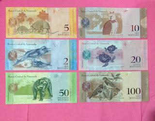 bộ tiền venezuela mặt sau