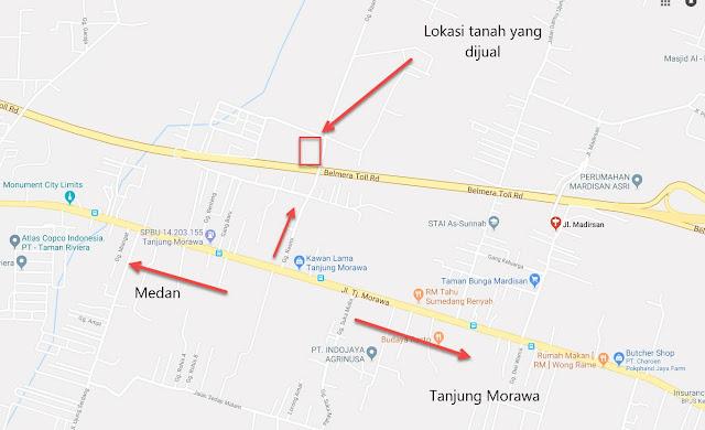 Lokasi Tanah Kosong Di Jl Rasmi Madirsan Samping Tol Tanjung Morawa Medan Sumatera Utara