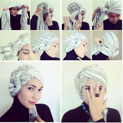 Foto Tutorial Jilbab Turban Segi Empat untuk Pesta ala Dian Pelangi