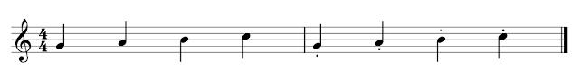 4 negras sin staccato y 4 negras con staccato