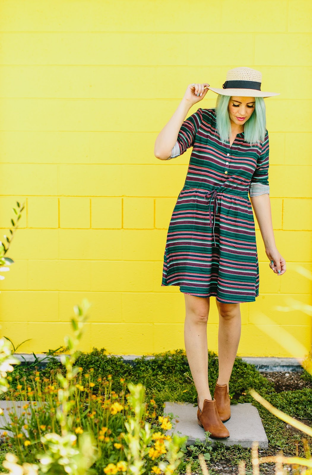 ModCloth, Striped Dress, Sun Hat