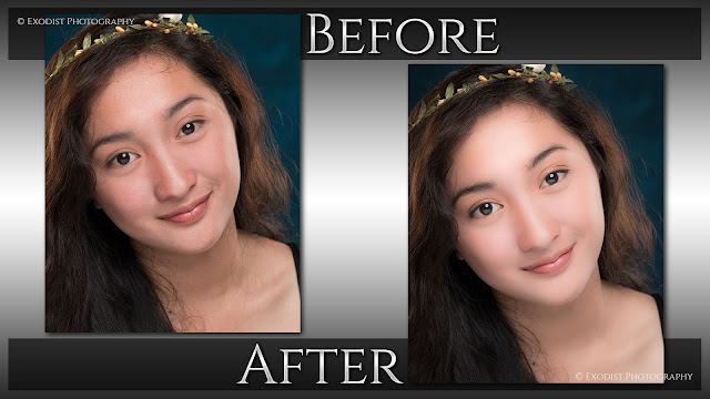 Beauty Lighting Headshot Retouching | Before & After  © Exodist Photography