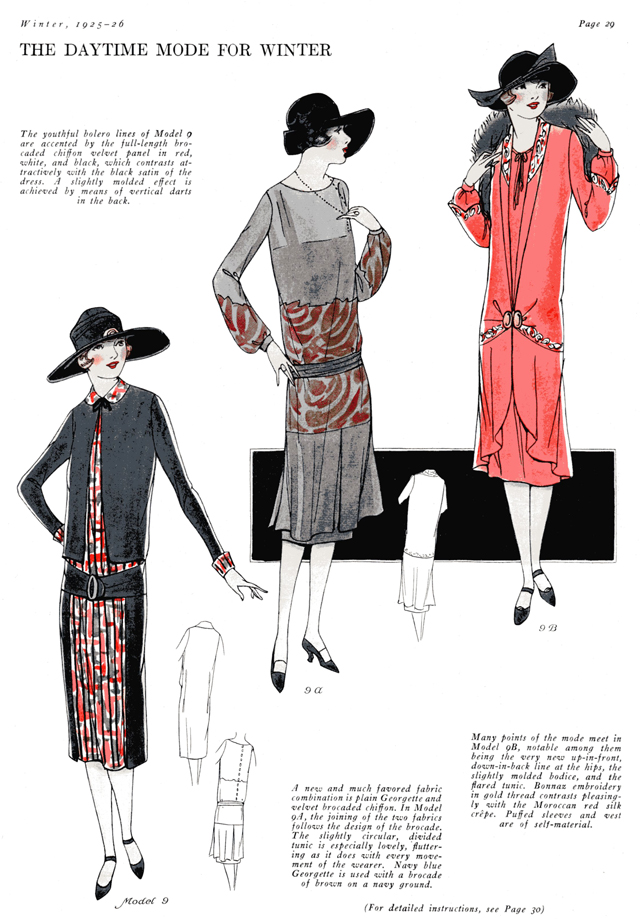 low waisted, long sleeved dresses for winter 1925 1926 Fashion Service Magazine