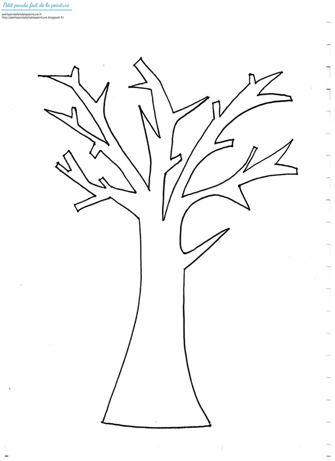 Petit panda fait de la peinture un arbre d 39 automne colorie a la craie grasse par un enfant de 1 an - Arbre d automne dessin ...