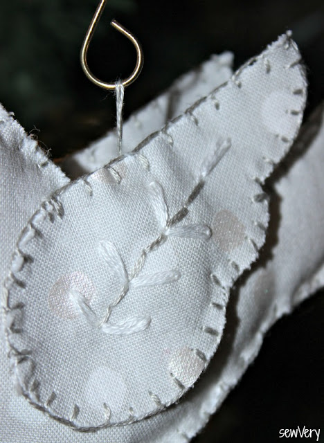 Peace Dove Ornament, made by Veronica using Betz White's pattern.