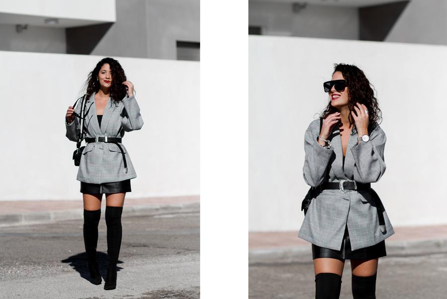 Maray Alvarez look blazer overzie principe de gales y botas otk