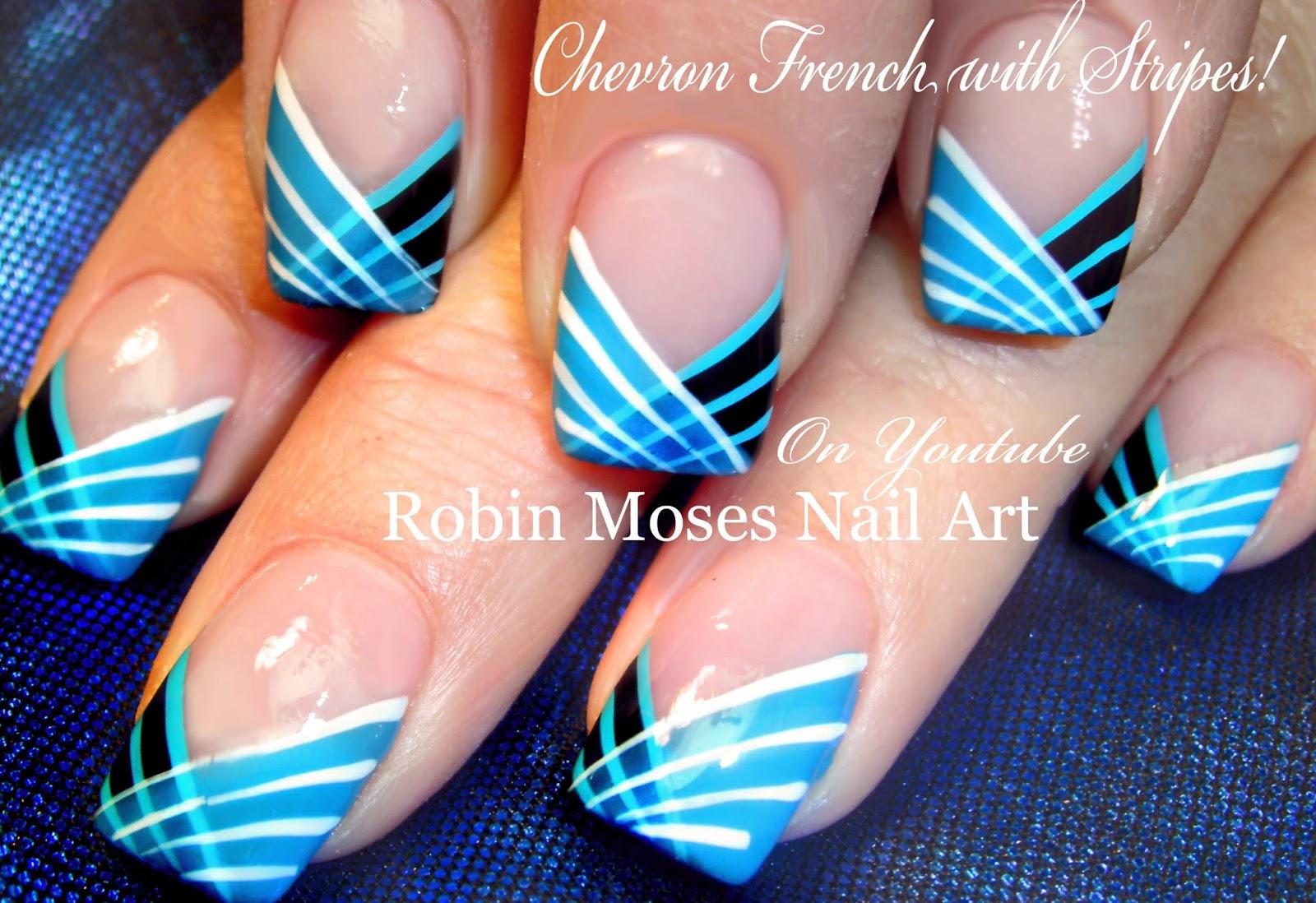 "Robin Moses Nail Art: Striped Chevron Tipped Nail Art ""how"