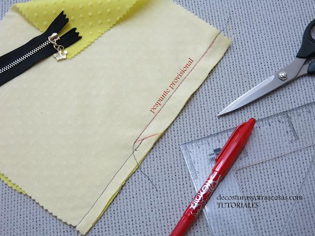 como marcar una costura haciendo un pespunte provisional