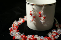 Fire and ice: necklace and earrings set - sterling silver, coral, crystal, quartz, crochet, wire wrapping :: All the Pretty Things