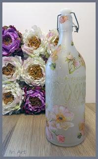 Butelka decoupage w róże – Decoupage bottle in roses