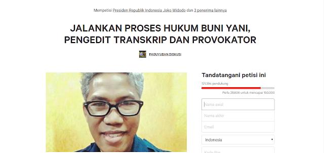 121 Ribu Orang Lebih Teken Petisi Proses Hukum Buni Yani Pengedit Transkrip dan Provokator