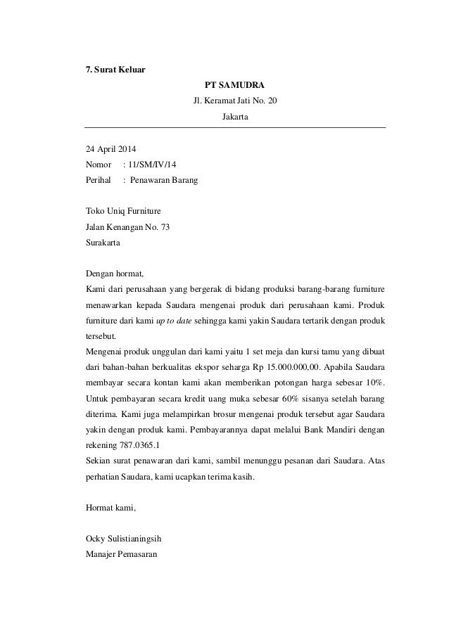 Contoh Surat Penawaran Barang Full Block Style Surat 10