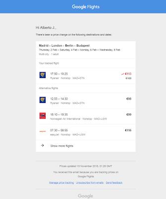 cambio de precio en los vuelos monitorizados google flights