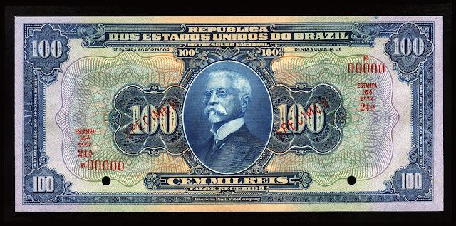 Brazil Currency 100 Mil Reis Cruzado Cruzeiro Real Reais banknote bill