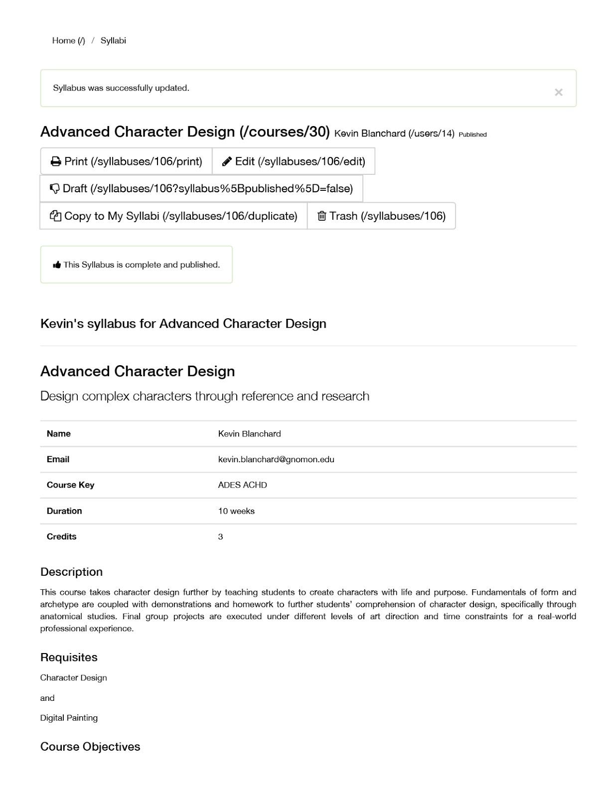 Gnomon School of Visual Effects: Advanced Character Design