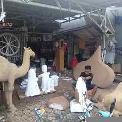 Cara dan proses Pembuatan Properti dekorasi Ramadhan & idul fitri, patung Unta, replika pohon kurma, dekorasi pengajian dan kerajinan lain dari busa gabus Styrofoam.