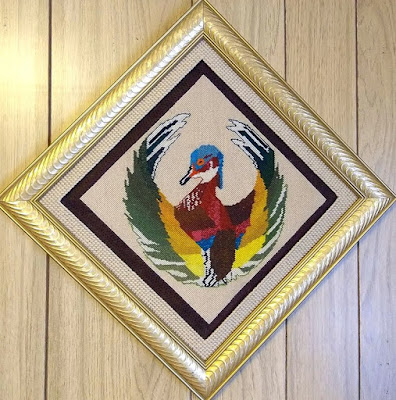 Needlepoint of wood duck