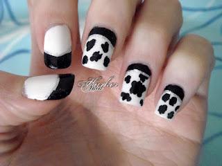 cow dalmatian print nail art
